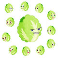 Chinese cabbage cartoon with many expressions Stock Image
