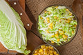 Chinese cabbage salad with sweet corn Royalty Free Stock Photo