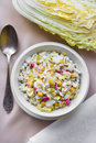 Chinese cabbage, sweet corn and surimi salad Royalty Free Stock Photo