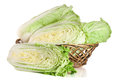 Chinese cabbage in a wicker basket isolated on white background