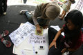 Chinese caligraphy the teens learn to write calligraphy in the city of solo central java indonesia Stock Photos