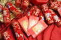 Chinese celebration firecrackers and red envelope Royalty Free Stock Photo