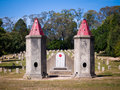 Chinese cemetery burning towers and graves in beechworth from gold rush era victoria australia Stock Image