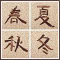Chinese character spring summer autumn winter Royalty Free Stock Images