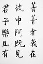 Chinese kanji calligraphy art writing Royalty Free Stock Photo