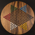 Chinese checkers view of wooden set Royalty Free Stock Photos
