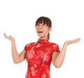 Chinese cheongsam girl open arms looking up pretty asian woman with traditional dress or qipao surprisingly new year concept Royalty Free Stock Photos