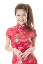 Chinese cheongsam girl smiling woman dress traditional at new year studio shot isolated on white background Stock Photography