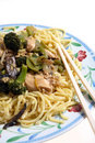 Chinese Chicken chow mein noodles Stock Images