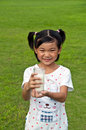 Chinese children holding milk Stock Image