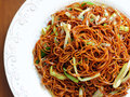 A chinese chow mein with chives Royalty Free Stock Photo
