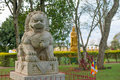 Chinese classical Buddah and stone lions in a Temple Royalty Free Stock Photo