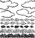 Chinese cloud handwritten brush stroke illustrations set of Stock Image