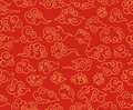 Chinese clouds pattern. Traditional asian ornament. Red decorative swirling sky cloud in japanese style vector seamless