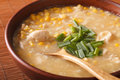 Chinese corn and chicken soup in a bowl close-up. horizontal Royalty Free Stock Photo