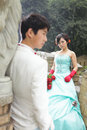 Chinese couple,outdoors Stock Photo