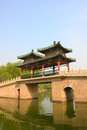 Chinese covered bridge traditionalcovered in longtanhu park at beijing china Stock Photography
