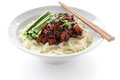Chinese cuisine noodles topped fermneted soy bean paste fresh cucumber Royalty Free Stock Photo