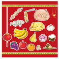 Chinese culture ancestor food offering Royalty Free Stock Photo