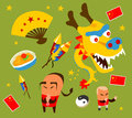 Chinese culture set hand drawn vector illustration Royalty Free Stock Photos