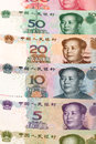Chinese currency close up lens。 Stock Photos