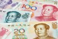 Chinese currency money yuan set of renminbi close up Royalty Free Stock Photo