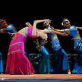 Chinese Dai ethnic dancers perform on stage Stock Images