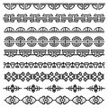 Chinese decoration, traditional antique korean pattern, vector asian seamless borders set Royalty Free Stock Photo