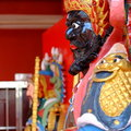 Chinese deity temple with a sword standing at door kuching sarawak state malaysia Royalty Free Stock Photo