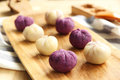 Chinese desert——purple sweet potato balls Stock Photo
