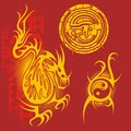 Chinese design vector set red and yellow Royalty Free Stock Images