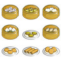 Chinese dim sum icons Royalty Free Stock Images