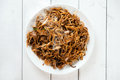 Chinese dish char kuey teow asian stir fried over wooden background fresh cooked with hot steams Royalty Free Stock Photo