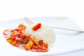 Chinese dish sweet sour chicken rice Royalty Free Stock Photos