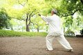 Chinese do taichi outside Royalty Free Stock Image