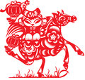 Chinese doll ride a horse in paper cut style Stock Photo