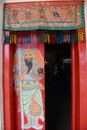 Chinese door red with a god new year celebration Royalty Free Stock Images