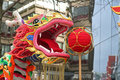 Chinese dragon in city Royalty Free Stock Photos