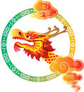 Chinese dragon head border art design illustration Royalty Free Stock Photos