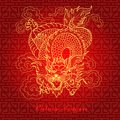 Chinese dragon illustration of gold on red background Stock Photography