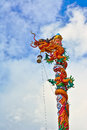Chinese dragon in the temple and blue sky Royalty Free Stock Image