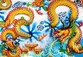 Chinese dragon thailand a on the wall blue cloud stripes kind of art decorated temple pavilion temple hall wall monk s Stock Photography
