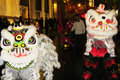 Chinese dragons chines drangons during a festival parade in the spanish city of leon Royalty Free Stock Photography