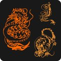 Chinese dragons vector set vinyl ready illustration Royalty Free Stock Photography