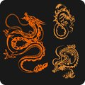 Chinese dragons vector set vinyl ready illustration Royalty Free Stock Photo