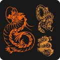 Chinese dragons vector set vinyl ready illustration Stock Photography