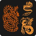 Chinese dragons vector set vinyl ready illustration Royalty Free Stock Images