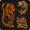 Chinese dragons vector set vinyl ready illustration Stock Photos