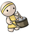 Chinese Drummer in Yellow Attire Stock Photography