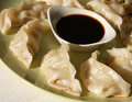 Chinese dumpling with soy sauce on dish Royalty Free Stock Photos